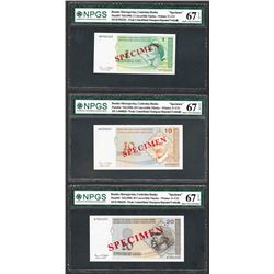 Lot of (3) 1998 Bosnia Central Bank Specimen Notes
