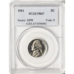 1951 Proof Jefferson Nickel Coin PCGS PR67