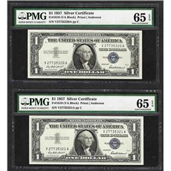 Lot of (2) Consecutive 1957 $1 Silver Certificate Notes PMG Gem Uncirculated 65E