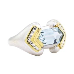 14KT White and Yellow Gold 2.16 ctw Aquamarine and Diamond Ring