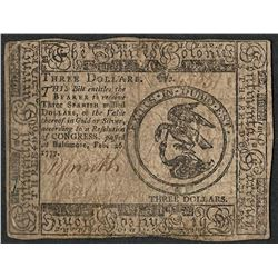 February 26, 1777 $3 Continental Currency Note