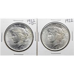 Lot of 1922 & 1922-D $1 Peace Silver Dollar Coins