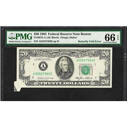 1985 $20 Federal Reserve Note Butterfly Fold ERROR PMG Gem Uncirculated 66EPQ