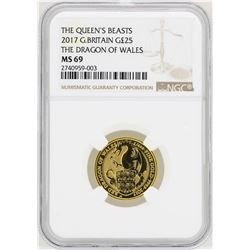 2017 Great Britain 2£ The Queens Beast Gold Coin NGC MS69