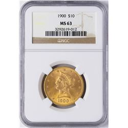1900 $10 Liberty Head Eagle Gold Coin NGC MS63
