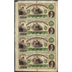 Uncut Sheet of 1800's $50 Citizens Bank of Louisiana Obsolete Notes