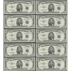 Lot of (10) Consecutive 1953B $5 Silver Certificate Notes Gem Uncirculated