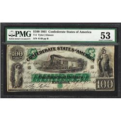 1861 $100 Confederate States of America Note T-5 PMG About Uncirculated 53
