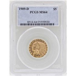 1909-D $5 Indian Head Half Eagle Gold Coin PCGS MS64