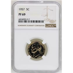 1957 Proof Jefferson Nickel Coin NGC PF69