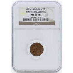 1831-35 India Pie Coin Bengal Presidency NGC MS63RB