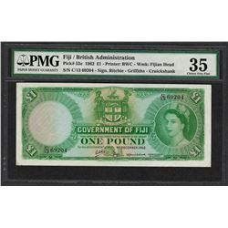 1962 Fiji British Administration 1 Pound Note Pick# 53e PMG Choice Very Fine 35