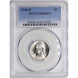 1940-D Jefferson Nickel Coin PCGS MS66FS