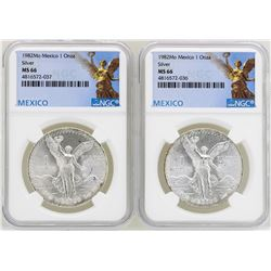 Lot of (2) 1982Mo Mexico Libertad Onza Silver Coins NGC MS66