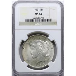 1923 $1 Peace Silver Dollar Coin NGC MS64