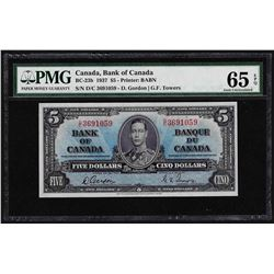 1937 $5 Bank of Canada Note PMG Gem Uncirculated 65EPQ