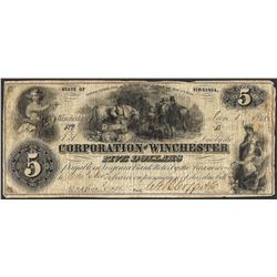 1862 $5 Corporation of Winchester Virginia Obsolete Note