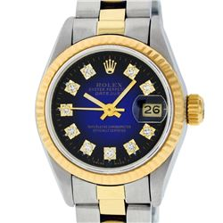 Rolex Ladies Two Tone 14K Blue Vignette Diamond Datejust Wristwatch