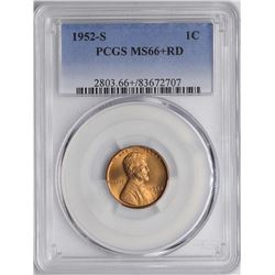 1952-S Lincoln Wheat Cent Coin PCGS MS66+RD
