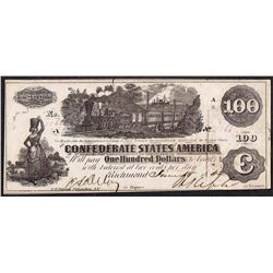 1862 $100 Confederate States of America Note T-41
