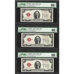 Lot of (3) Consecutive 1928G $2 Legal Tender Notes Fr.1508 PMG Gem Uncirculated