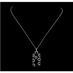 14KT White Gold 0.50 ctw Diamond and Onyx Pendant with Chain