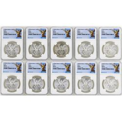Lot of (10) 1982Mo Mexico Libertad Onza Silver Coins NGC MS66