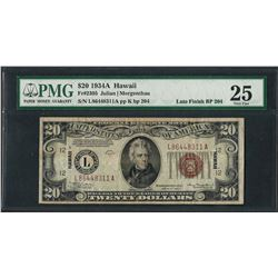1934A $20 Hawaii Federal Reserve WWII Emergency Note PMG Very Fine 25 Late Finis