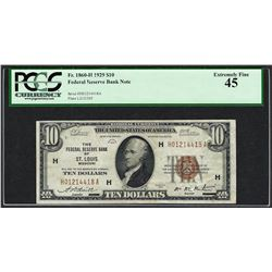 1929 $10 Federal Reserve Bank of St. Louis Currency Note Fr.1860-H PCGS Extremel