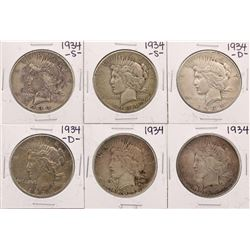 Lot of (2) 1934, (2) 1934-D, & (2) 1934-S $1 Peace Silver Dollar Coins
