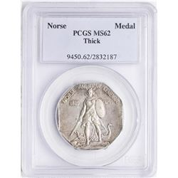 1925 Norse American Centennial Silver Medal Thick PCGS MS62