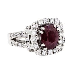 14KT White Gold 2.80 ctw Ruby and Diamond Ring