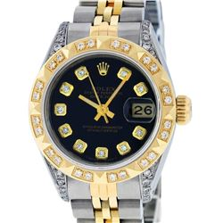 Rolex Ladies Two Tone 14K Black Diamond & Pyramid Diamond Datejust Wriswatch
