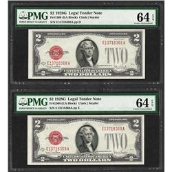 Lot of (2) Consecutive 1928G $2 Legal Tender Notes  PMG Choice Uncirculated 64EP