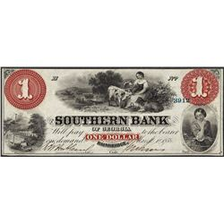 1858 $1 Southern Bank Bainbridge, GA Obsolete Note