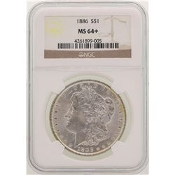 1886 $1 Morgan Silver Dollar Coin NGC MS64+