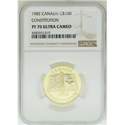 1982 $100 Canada Constitution Gold Coin NGC PF70 Ultra Cameo