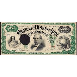 1870 $5 State of Mississippi Obsolete Note Cut Canceled