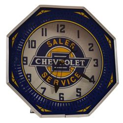 Chevrolet Dealership Advertising Neon Clock
