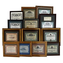 Large Collection of Framed Stock Certificates