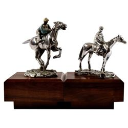 2 Horse and Jockey Desmo Hood Ornamnet Mascots