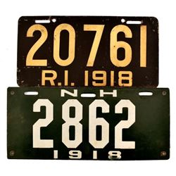 Two 1918 License Plates
