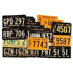 Collection of 1940-1960's Texas License Plates