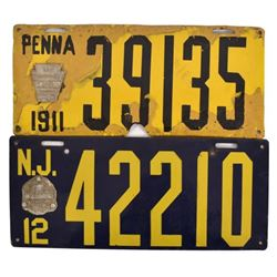 1911-1912 Porcelain License Plates