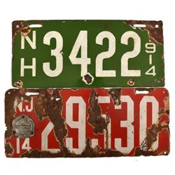 1914 Porcelain License Plates