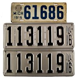 1916 License Plates Illinois