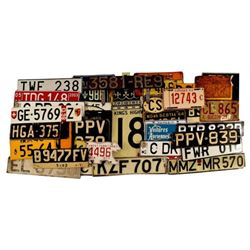 Collection of Foreign License Plates & Road Sign