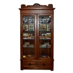 Antique Wood Display Case Full of Matchbox Cars