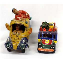 Mexican Pottery Car & Bus