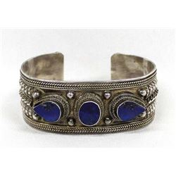 Tibetan Sterling and Lapis Bracelet